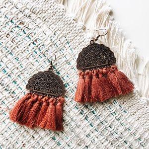 Jewelry - boho bronze & rust tassel fringe earrings